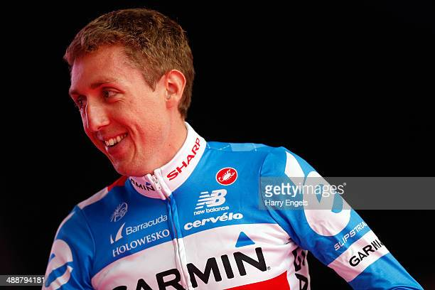 Dan Martin of Ireland and team GarminSharp looks on during the Team Presentation for the 2014 Giro d'Italia on May 8 2014 in Belfast Northern Ireland