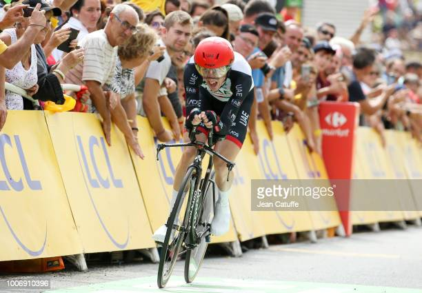 Dan Martin of Ireland and UAE Team Emirates finishing stage 20 of Le Tour de France 2018 an individual time trial of 31 km between SaintPeesurNivelle...