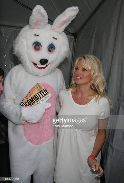 Dan Mathews and Pam Anderson during Pamela Anderson Introduces PETA Chief Dan Mathews at Los Angeles Times Festival of Books at Barnes Noble Stage at...