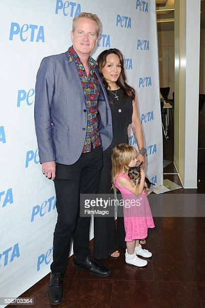Dan Mathews Mayte Garcia and Gia Garcia arrive at the LA Launch Party for Prince's PETA Song at PETA on June 7 2016 in Los Angeles California