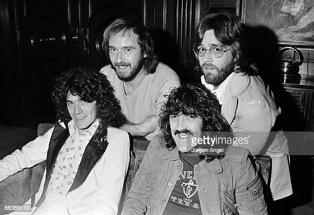 Dan McCafferty Pete Agnew Manny Charlton and Darrell Sweet of the Scottish rock band Nazareth posing for a group shot c1975 in Copenhagen Denmark