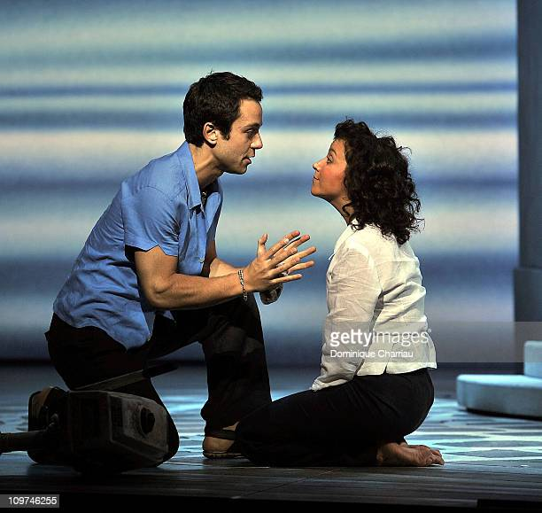 Dan Menash and Gaelle Gauthier perform on stage during the MammaMia rehearsals at Theatre Mogador on October 27 2010 in Paris France
