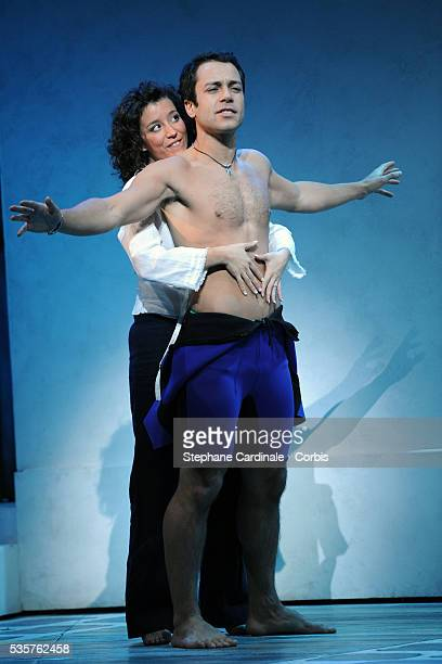 Dan Menash and Gaelle Gauthier perform on stage during the MammaMia rehearsals at Theatre Mogador in Paris