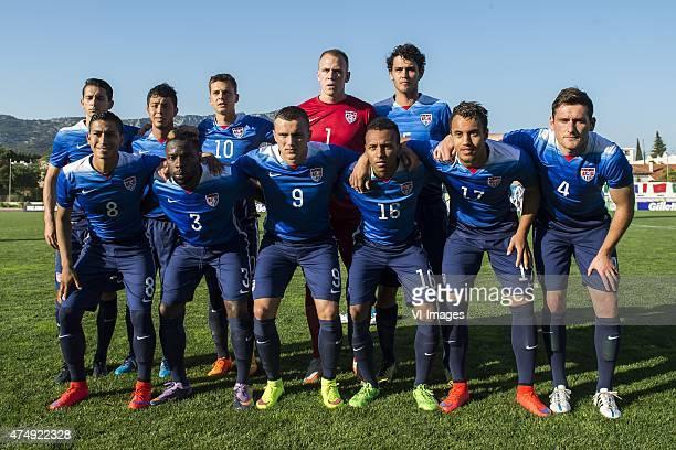 Dan Metzger of USA U21 Juan Pablo Ocugueda of USA U21 Marc Pelosi of USA U21 goalkeeper Cody Cropper of USA U21 William Packwood of USA U21 Benji...