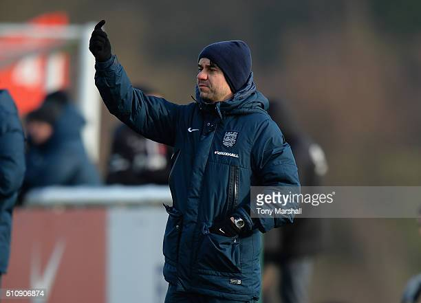 Dan Micciche Head Coach of England U16 during the U16s International Friendly match between England U16 and Norway U16 at St Georges Park on February...