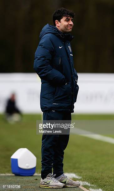 Dan Micciche Manager of England U16 looks on during the U16s International Friendly match between England U16 and Italy U16 at St Georges Park on...
