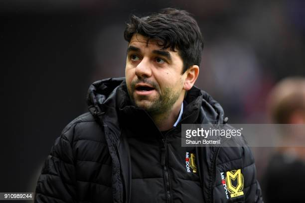 Dan Micciche Manager of Milton Keynes Dons looks on prior to The Emirates FA Cup Fourth Round match between Milton Keynes Dons and Coventry City at...