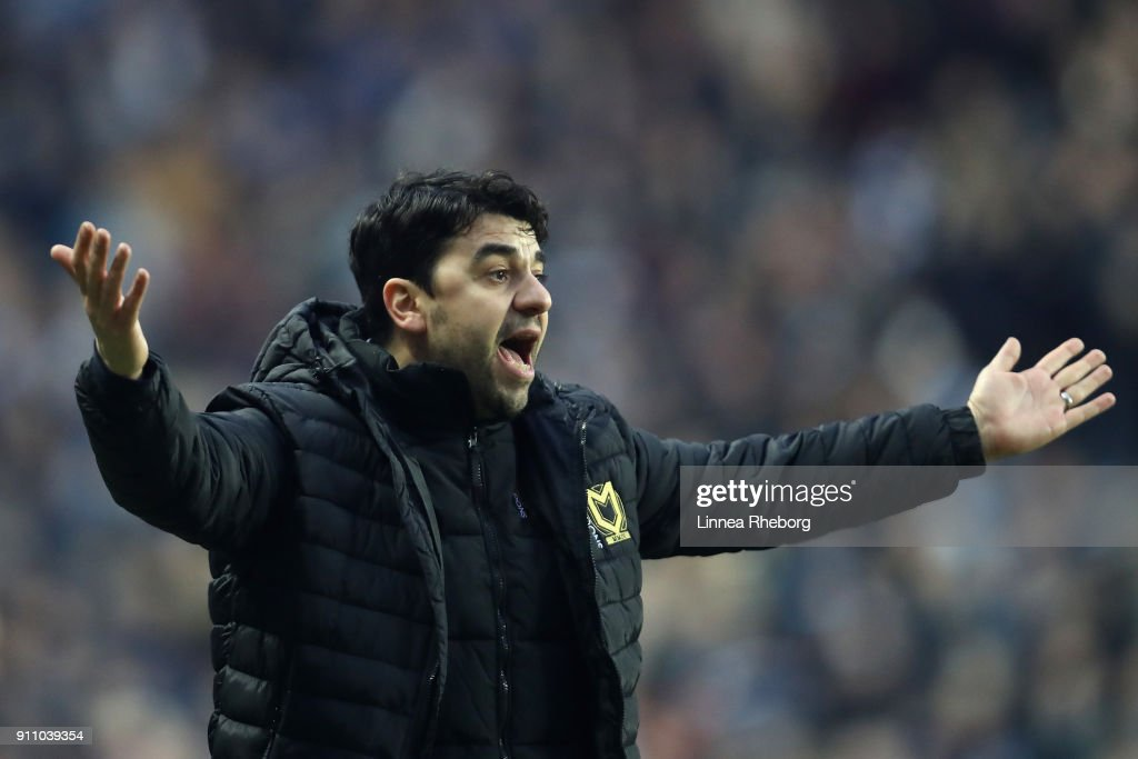 Dan Micciche, Manager of Milton Keynes Dons reacts during The Emirates FA Cup Fourth Round match between Milton Keynes Dons and Coventry City at Stadium mk on January 27, 2018 in Milton Keynes, England.