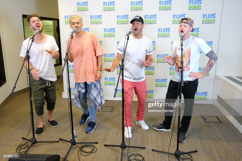 Dan Miller, Erik-Michael Estrada, Trevor Penick and Jacob Underwood of the band O-Town perform live on 'The Elvis Duran Z100 Morning Show' at Z100 Studio on July 24, 2017 in New York City.