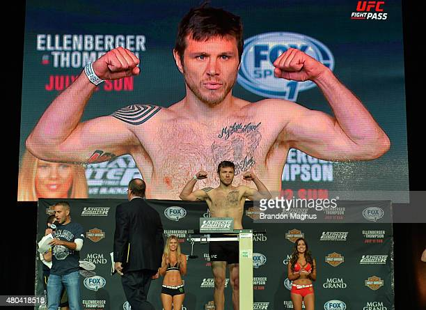 Dan Miller steps onto the scale during the TUF 21 Finale Weighin at the UFC Fan Expo in the Sands Expo and Convention Center on July 11 2015 in Las...