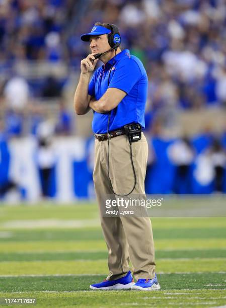 Dan Mullen the head coach of the Florida Gators watches the action against the Kentucky Wildcats at Commonwealth Stadium on September 14, 2019 in...