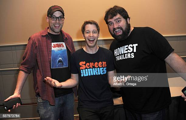 Dan Murrell Spencer Gilbert and Andy Signore of Screen Junkies on Day 2 of Wizard World Comic Con Philadelphia 2016 held at Pennsylvania Convention...
