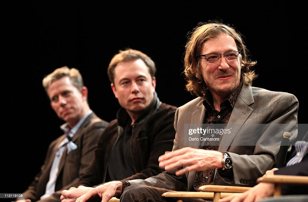 Dan Neil, Tesla Motors CEO Elon Musk and director (R) Chris Paine attend Tribeca Talks After The Movie: 'Revenge of the Electric Car' during the 2011 Tribeca Film Festival at the SVA Theater on April 23, 2011 in New York City.