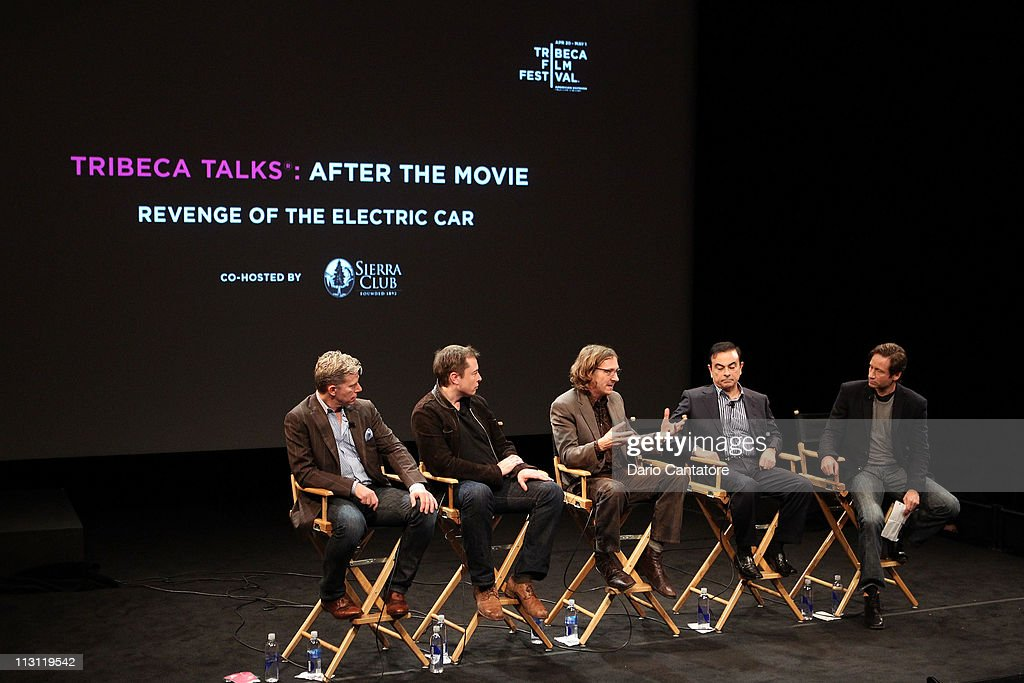 Dan Neil, Tesla Motors CEO Elon Musk, director Chris Paine, CEO of Yokohama Carlos Ghosn and actor David Duchovny speak during the Tribeca Talks After The Movie: 'Revenge of the Electric Car' during the 2011 Tribeca Film Festival at the SVA Theater on April 23, 2011 in New York City.