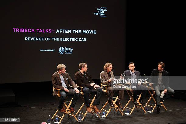 Dan Neil Tesla Motors CEO Elon Musk director Chris Paine CEO of Yokohama Carlos Ghosn and actor David Duchovny speak during the Tribeca Talks After...