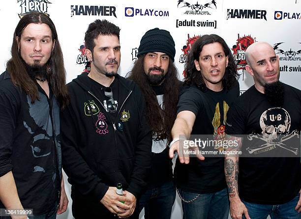 Dan Nelson Charlie Benante Rob Caggiano Frank Bello and Scott Ian of Anthrax on the red carpet at the Metal Hammer Golden Gods Awards on June 15 2009