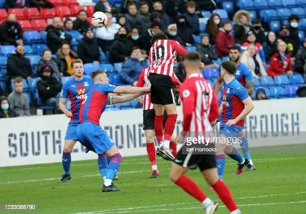 Dan Niel of Sunderland brings a save from Palace keeper Oliver Webber during the Premier League 2 play off game between Crystal Palace U23 and...