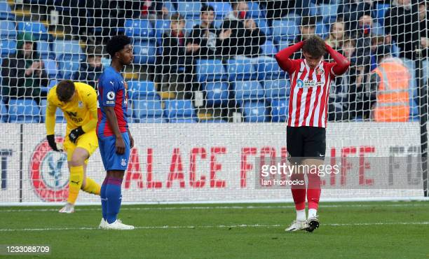 Dan Niel of Sunderland reacts after he brings a save from Palace keeper Oliver Webber during the Premier League 2 play off game between Crystal...