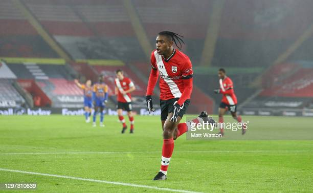 Dan N'Lundulu of Southampton celebrates after opening the scoring during the FA Cup Third Round match between Southampton and Shrewsbury Town on...