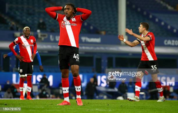 Dan N'Lundulu of Southampton reacts during the Premier League match between Everton and Southampton at Goodison Park on March 01, 2021 in Liverpool,...