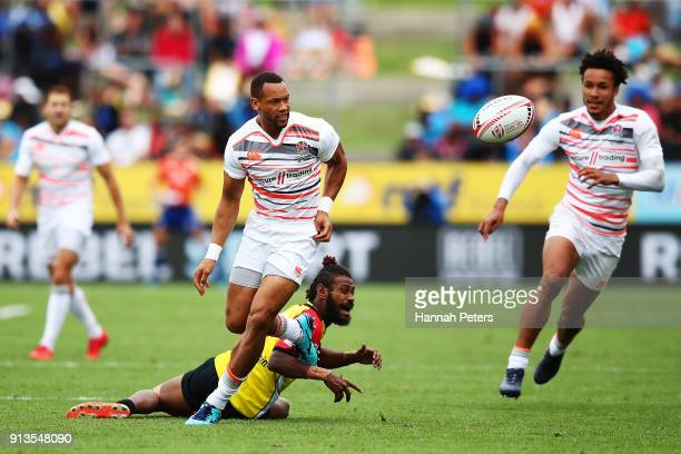 Dan Norton of England kicks the ball forward against Papua New Guinea during the 2018 New Zealand Sevens at FMG Stadium on February 3 2018 in...