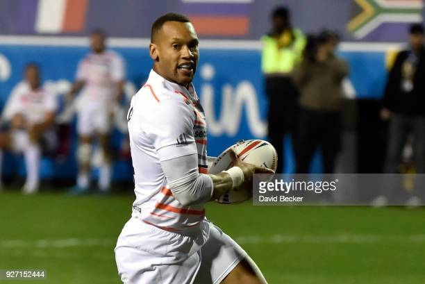 Dan Norton of England runs with the ball against Wales during the USA Sevens Rugby tournament at Sam Boyd Stadium on March 2 2018 in Las Vegas Nevada