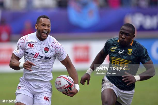 Dan Norton of England runs with the ball during the match between England and South Africa at the HSBC Paris Sevens stage of the Rugby Sevens World...