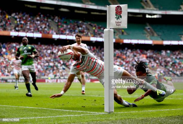 Dan Norton of England touches down a try during the match between England and South Africa during day two of the HSBC London Sevens at Twickenham...