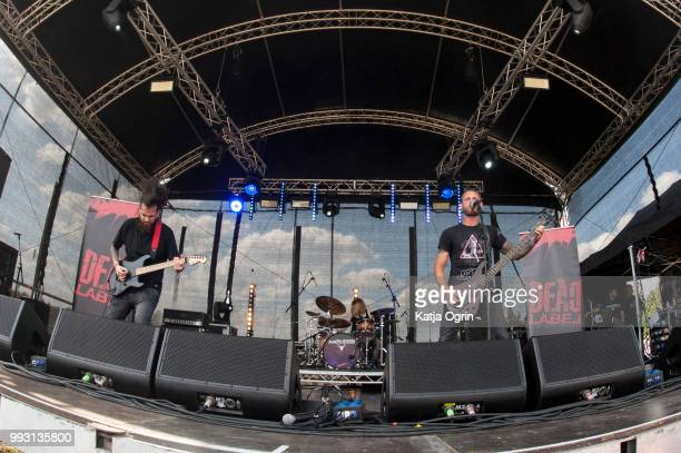 Dan O' Grady Danny Hall and Claire Percival of Dead Label perform at Amplified Festival 2018 at Quarrydowns on July 6 2018 in Gloucestershire England