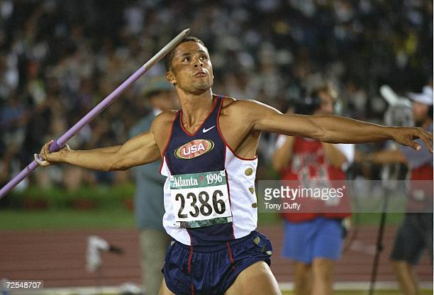 Dan O'Brien of the USA in action during the javelin event in the mens Decathlon in the Olympic Stadium at the 1996 Centennial Olympic Games in...
