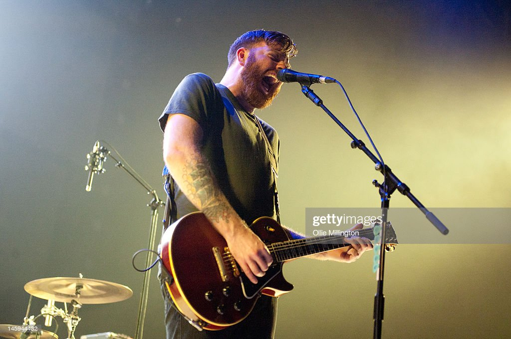 Dan O'Connor of Four Year Strong performs on stage supporting Blink 182 on the opening night of their European 2012 tour at NIA Arena on June 7, 2012 in Birmingham, United Kingdom.