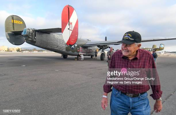 Dan Oldewage is all smiles after a ride in a B24 Liberator at John Wayne Airport in Santa Ana California on Friday May 12 2017 The last time he was...