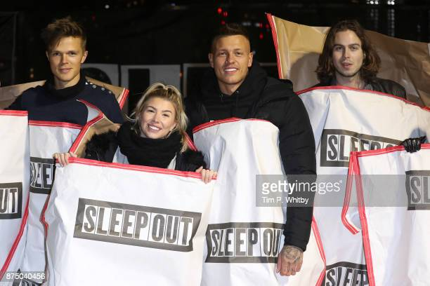 Dan Olsen Olivia Buckland Alex Bowen and Willow Robinson pose for a photo during the Sleep Out Fundraiser at Greenwich Peninsula on November 16 2017...