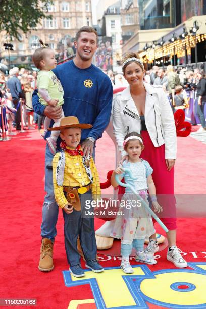Dan Osborne Jacqueline Jossa and children attend the European Premiere of Toy Story 4 at Odeon Luxe Leicester Square on June 16 2019 in London England
