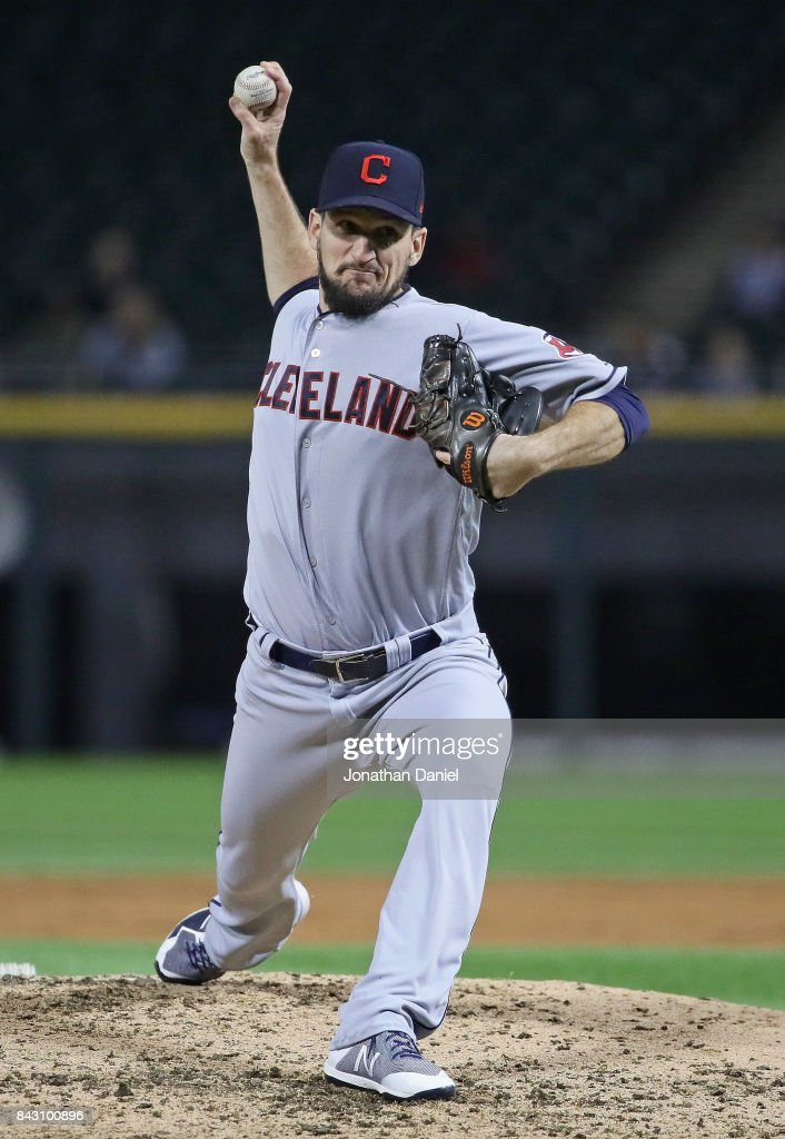 Dan Otero #61 of the Cleveland Indians pitches in the 2nd inning, becomeing the third Indians pitcher of the game, against the Chicago White Sox at Guaranteed Rate Field on September 5, 2017 in Chicago, Illinois.