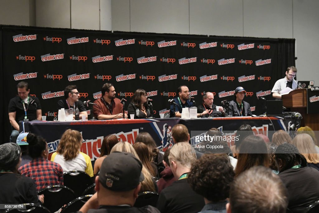Dan Parent, Mike Pellerito, Jamie Rotante, Alex Segura and Jon Goldwater speak at the Archie Comics: Riverdale Revealed panel during 2017 New York Comic Con - Day 3 on October 7, 2017 in New York City.