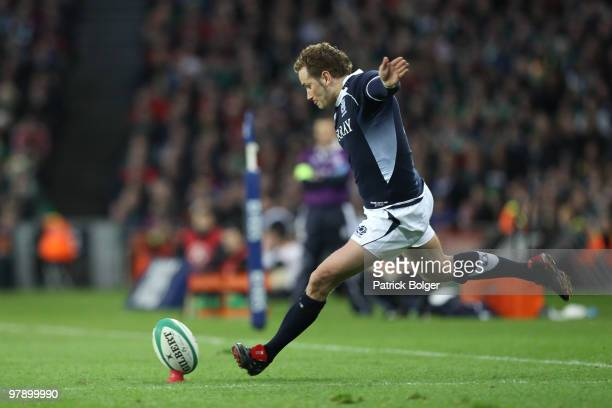 Dan Parkes of Scotland kicks the winning penalty during the RBS Six Nations match between Ireland and Scotland at Croke Park on March 20, 2010 in...