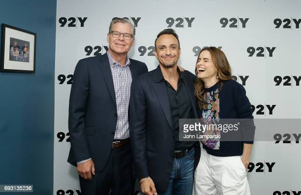 Dan Patrick Hank Azaria and Amanda Peet attend 92Y Talks Brockmire at Kaufman Concert Hall on June 6 2017 in New York City