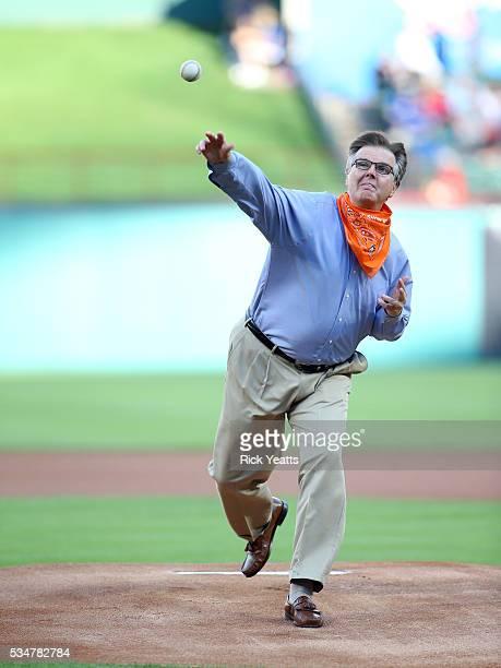 Dan Patrick Texas Lieutenant Governor throws first pitch at Globe Life Park in Arlington on May 27 2016 in Arlington Texas