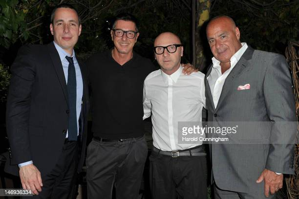 Dan Peres Stefano Gabbana Domenico Dolce and Kevin Martinez attend the DETAILS magazine cocktail party at Bulgari Hotel hosted by Dan Peres and Kevin...