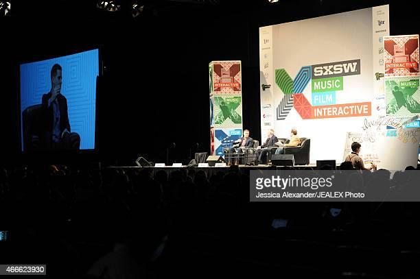 Dan Pfeiffer Senior Advisor The White House journalist Dan Rather and Andrew Bleeker President of Bully Pulpit Interactive speak onstage at 'Breaking...