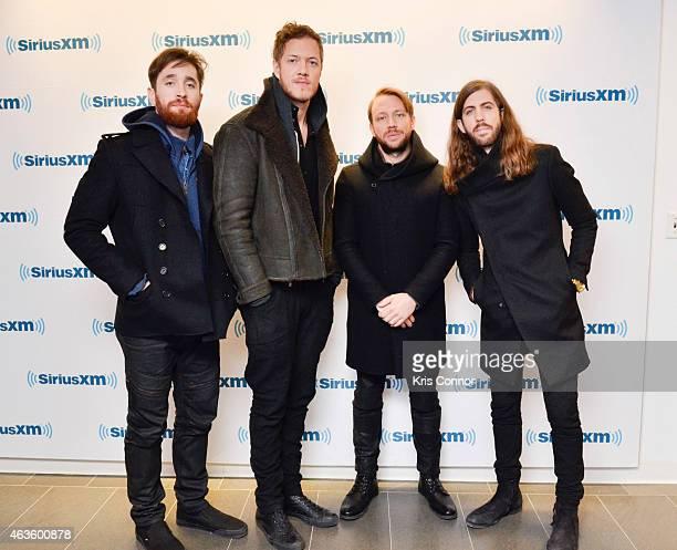 Dan Platzman Dan Reynolds Ben McKee and Daniel Wayne Sermon of Imagine Dragons pose for a photo before performing at SiriusXM Studios on February 16...