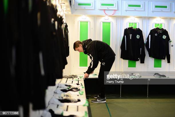 Dan Powell Kitman of Yeovil Town prepares the changing room prior to kick off during the Sky Bet League Two match between Yeovil Town and...