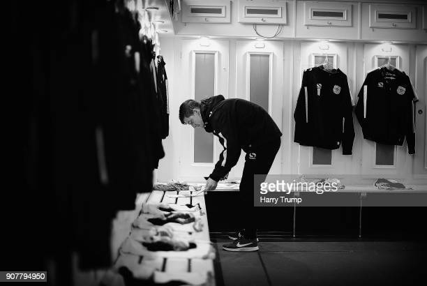 Dan Powell Kitman of Yeovil Town prepares the Yeovil Town changing room prior to kick off during the Sky Bet League Two match between Yeovil Town and...