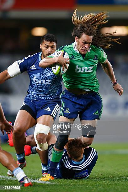 Dan Pryor of the Highlanders is tackeld by Ihaia West of the Blues during the round 18 Super Rugby match between the Blues and the Highlanders at...