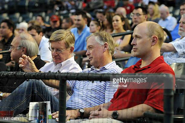 Dan Quayle watches the Arizona Diamondbacks game against the Atlanta Braves at Chase Field on April 19 2012 in Phoenix Arizona