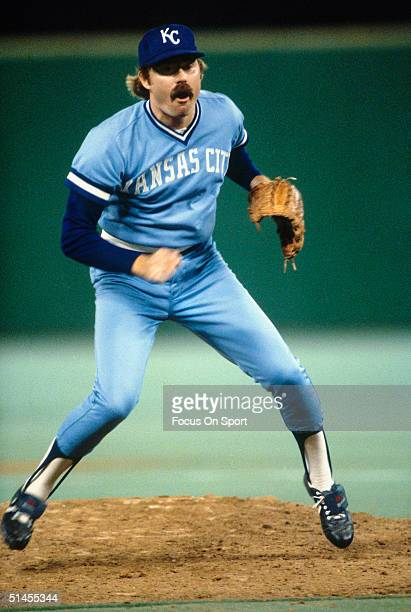 Dan Quisenberry of the Kansas City Royals pitches against the Philadelphia Phillies during the World Series at Veterans Stadium in Philadelphia...