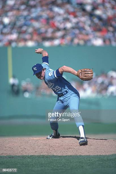Dan Quisenberry of the Kansas City Royals throws a pitch circa 1983 during a game