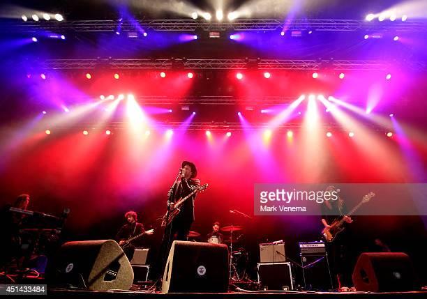 Dan Raishbrook Finn Andrews Henning Dietz and Sophia Burn of The Veils perform at Day 2 of Down The Rabbit Hole Festival at De Groene Heuvels on June...