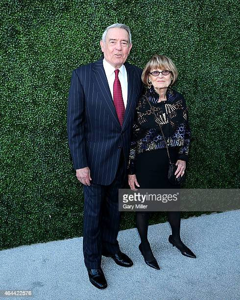 Dan Rather and his wife Jean Goebel pose on the red carpet for the Texas Medal of Arts Awards at the Long Center on February 25 2015 in Austin Texas